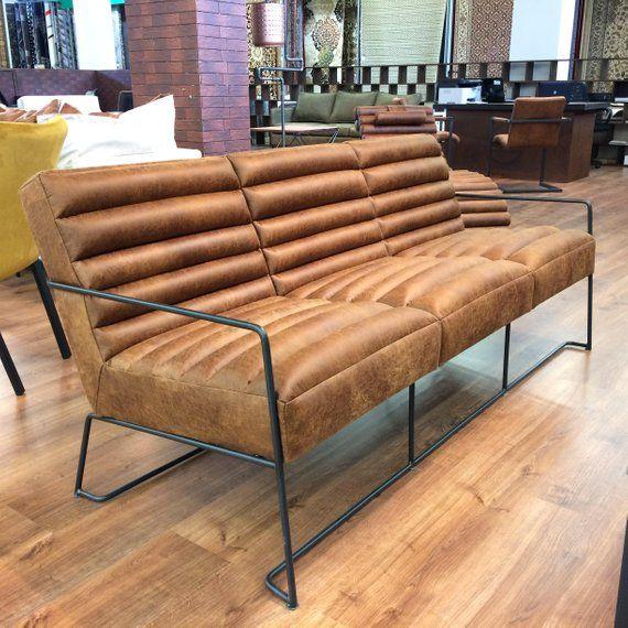 Seater Sofa Brown Hairpin Legs
