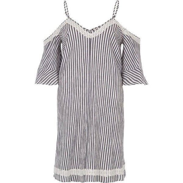 River Island Grey stripe cold shoulder swing dress ($34) ❤ liked on Polyvore featuring dresses, festival, grey, sale, women, tall dresses, cold shoulder dresses, swing dress, short grey dress and stripe dresses