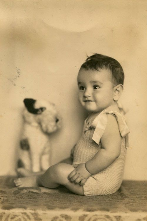 +~+~ Vintage Photograph ~+~+   Adorable baby and stuffed doggie!!