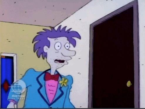 """Momentos de amizade - Rugrats, os Anjinhos -- Quando Stu diz que o pai de Phil e Lil está ausente, tendo um """"momento de amizade"""" com um homem e faz o gesto que você viu acima."""