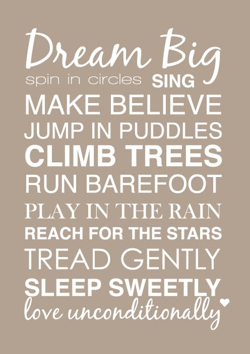 Free printable poster for baby/kids room - wld be cute on a fun painted board or canvas.