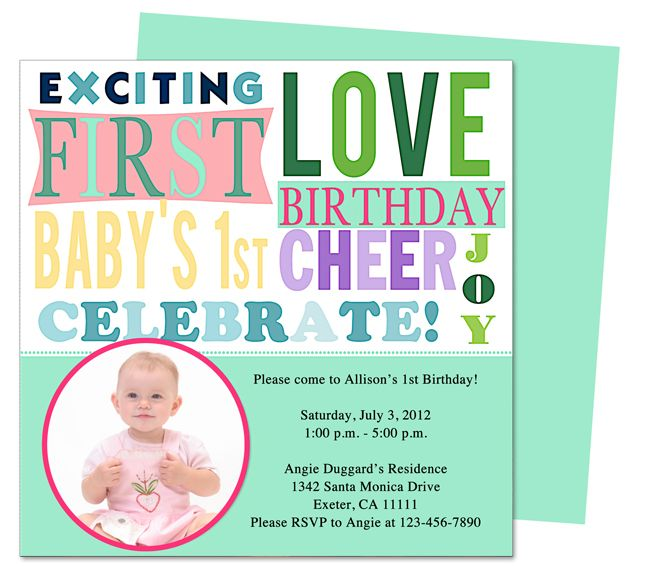 13 best Printable 1st First Birthday Invitations Templates images on - invitation card for ist birthday