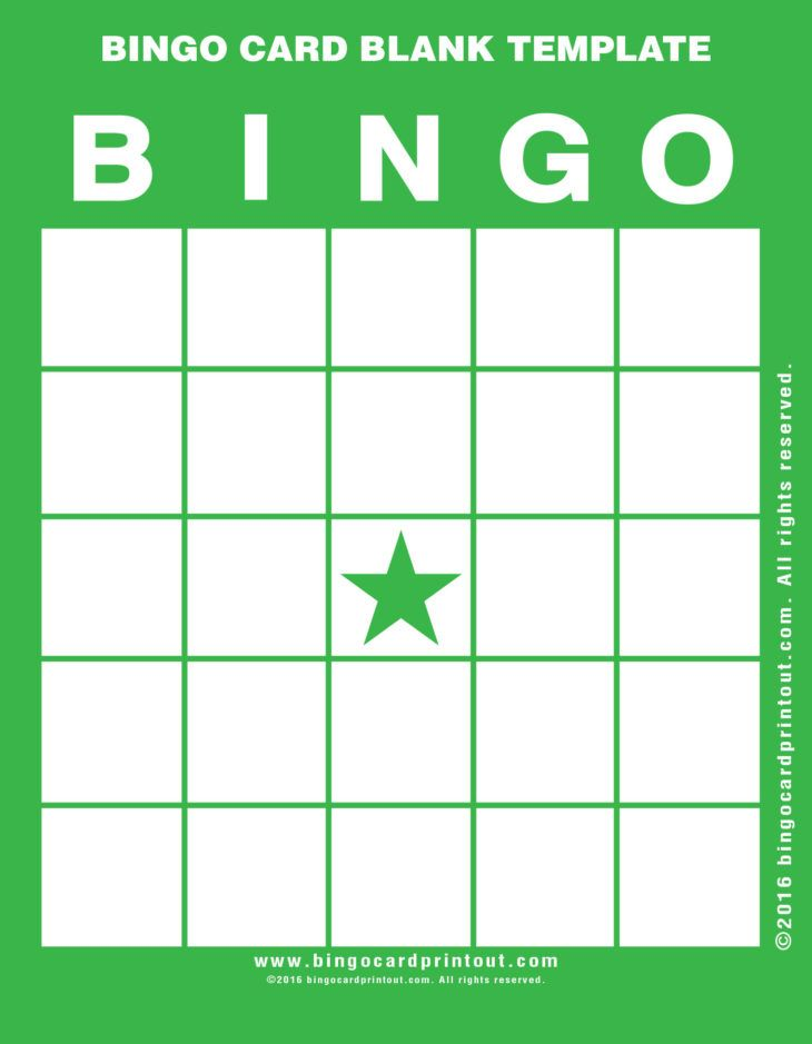 Bingo Card Blank Template Bingo Card Template Bingo Cards