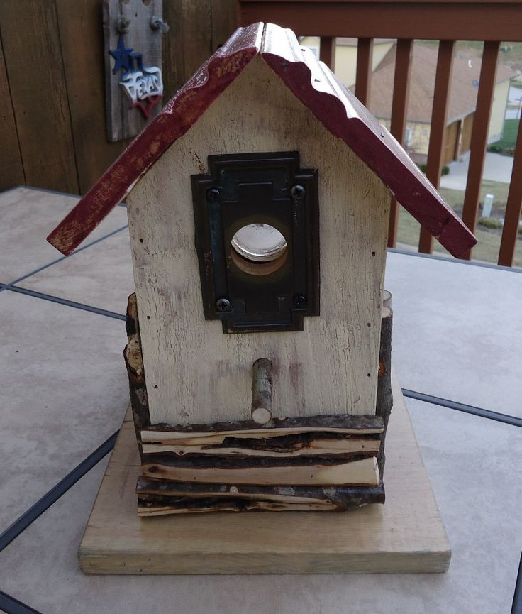 Rustic Handmade Birdhouse Features Antique Canning Top Window and Door Decor by HollisterLadyQuilts on Etsy