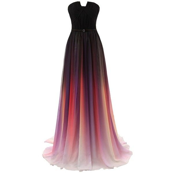 Amazon.com: Kingbridal? Women's Multicoloured Gradient Colorful Formal... (2,150 DOP) ❤ liked on Polyvore featuring dresses, multi colored cocktail dresses, multi color prom dress, formal dresses, formal evening dresses and holiday cocktail dresses