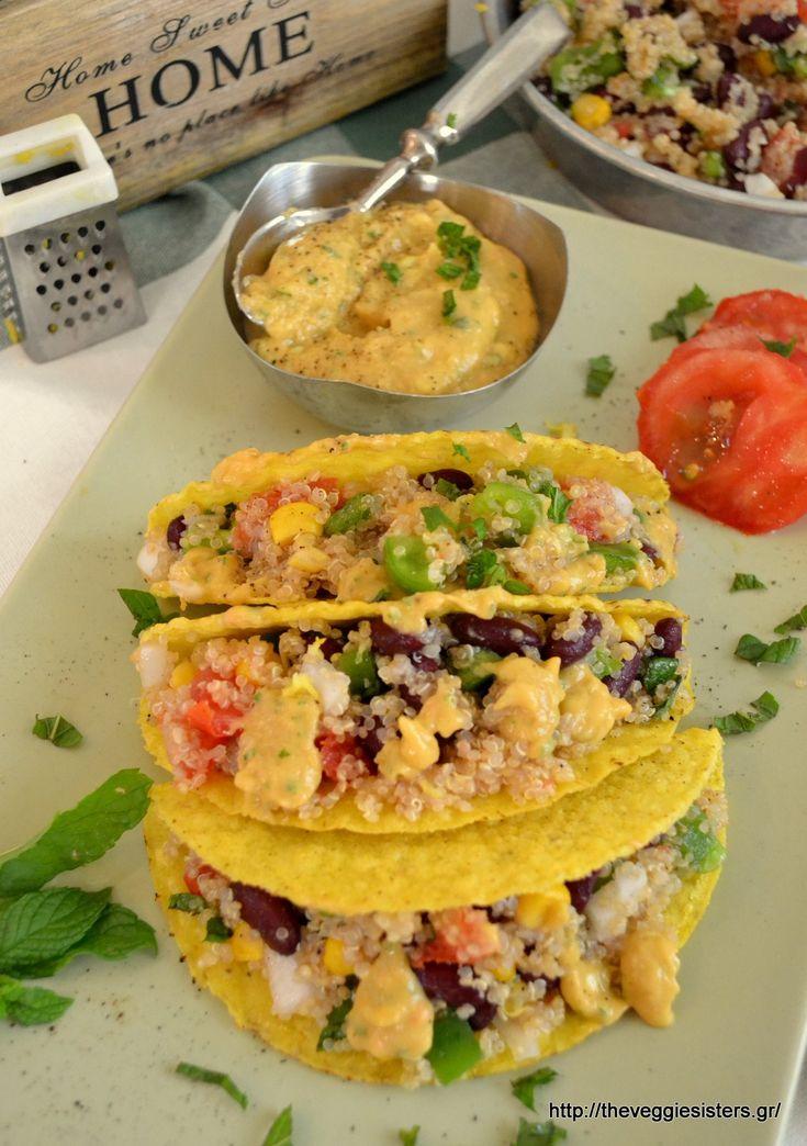 Vegan quinoa tacos with avocado sauce