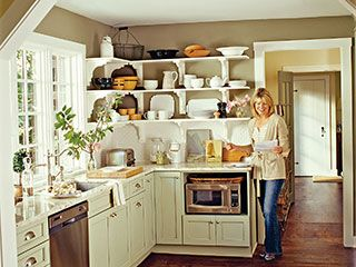 Cottage KitchenWall Colors, Cottages Kitchens, Kitchens Colors, Open Shelves, Marbles Countertops, White Subway Tile, Open Kitchens, White Cabinets, Open Shelving