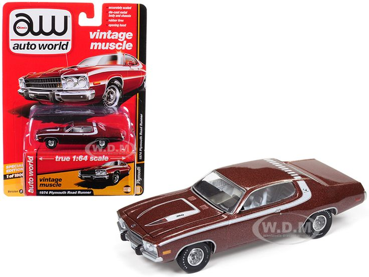 """diecastmodelswholesale - 1974 Plymouth Road Runner Burnished Red Poly with White Stripes """"Auto World's Premium"""" Limited Edition to 1800 pieces Worldwide 1/64 Diecast Model Cars by Autoworld, $6.99 (https://www.diecastmodelswholesale.com/1974-plymouth-road-runner-burnished-red-poly-with-white-stripes-auto-worlds-premium-limited-edition-to-1800-pieces-worldwide-1-64-diecast-model-cars-by-autoworld/)"""