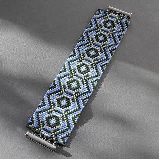 Широкий этно-браслет из бисера. Ручная работа