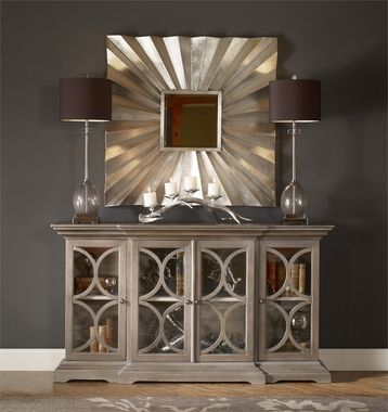 Craftsman Built With Break-front Styling, Carved Molding Details, And Elegant Paris Silver Finish, A Subtly Metallic Silver Over A Light Gray Washed Fine Wood Grain With Clear Glass Doors.Dimensions: