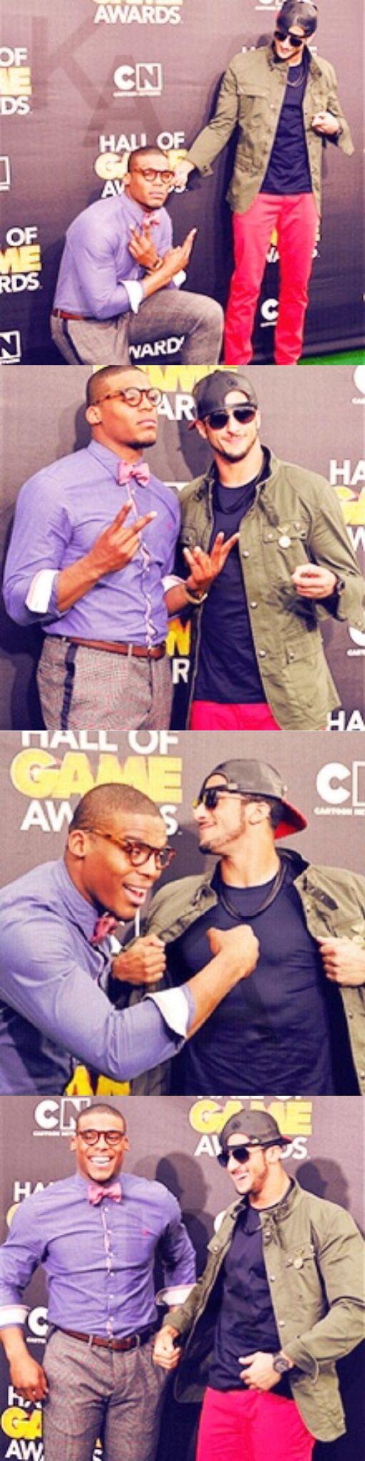 Colin Kaepernick & Cam Newton hosting Cartoon Networks Hall of Game awards.