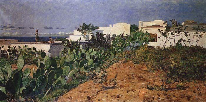 """Henrique Pousão, """"Casas brancas de Capri"""" / """"White houses of Capri"""" (1882). Encontra-se no Museu Nacional de Arte Contemporânea - Museu do Chiado, Lisboa"""