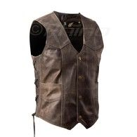 Brown Distressed Leather Vest with stud buttons