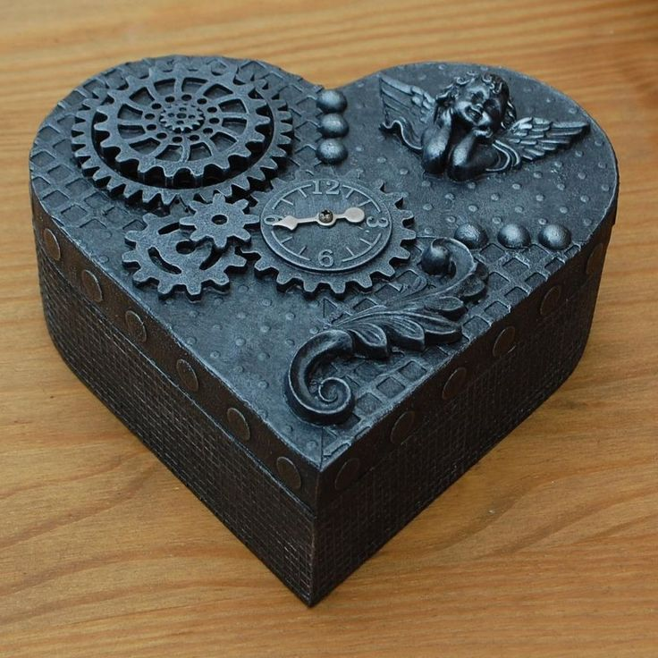 STEAMPUNK  HEART  WOODEN JEWELLERY TRINKET BOX  UNIQUE HANDMADE  AGED SILVER