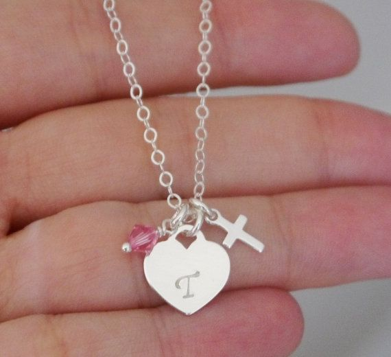 Girls Baptism Gifts, Baptism Gifts Godchild, Tiffany Heart Necklace, Heart Baptism Necklace, First Communion Gift, Baby Dedication Gifts