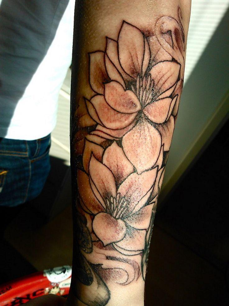 Black Lotus Flowers Tattoo On Full Arm Men Flower Tattoo Lotus Flower Tattoo Design Cool Arm Tattoos