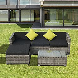 outsunny rattan wicker conservatory outdoor furniture grey