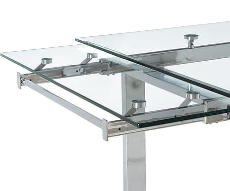 Mesa de comedor extensible en metal y cristal templado Style