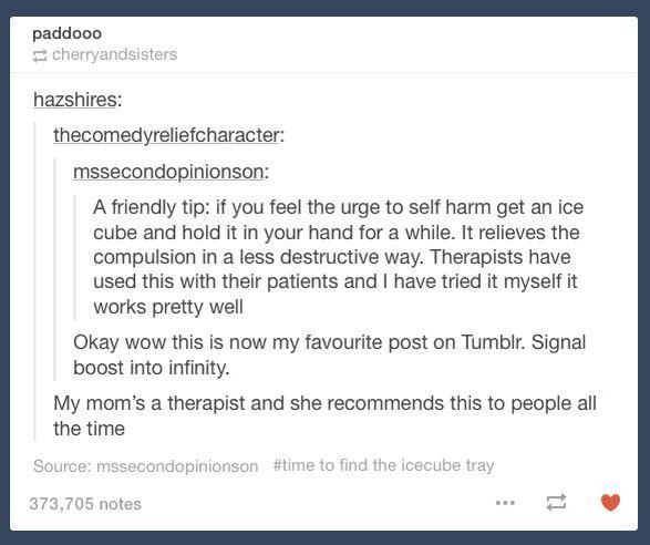 Ice helps relieve self harm compulsion
