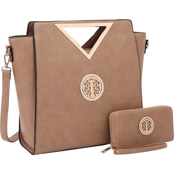 Dasein Women's Medium Classic Satchel with Matching wallet - Dark... ($54) ❤ liked on Polyvore featuring bags, handbags, tan, tote purses, beige handbags, zip tote, tan purse and satchel handbags