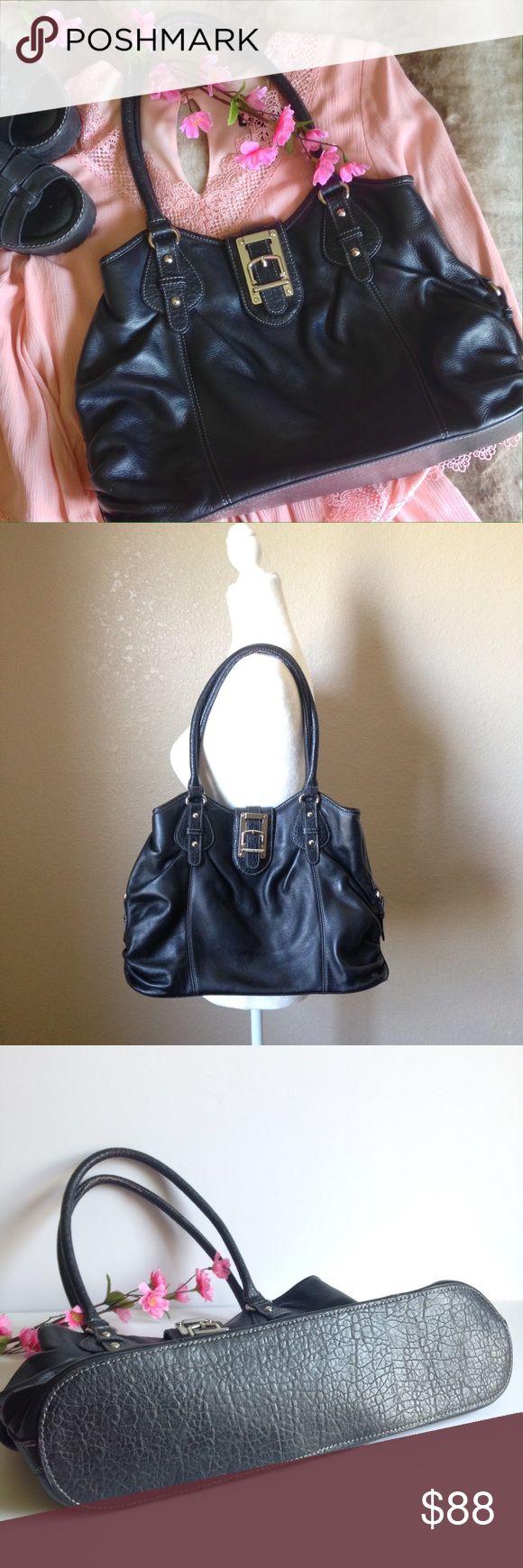 Etienne aigner black leather gloves - Etienne Aigner Large Ruched Leather Shoulder Bag
