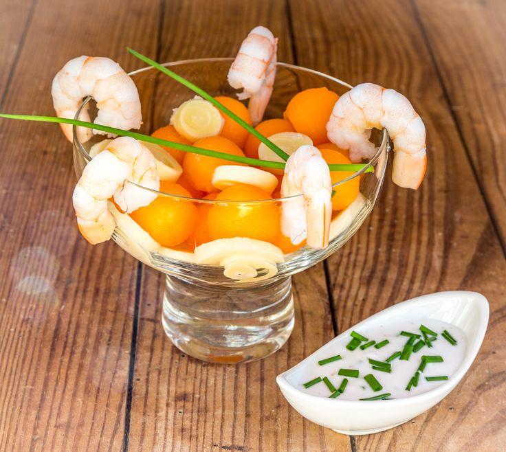 Melon aux crevettes et cœur de palmier, 186kcal par portion, recette saine, recette minceur, bien être, 3b nutrition