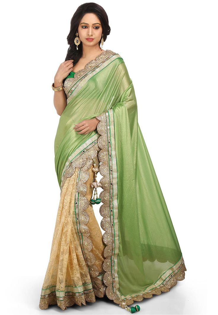 Two Part Lycra Shimmer and Net Saree in Green and Cream. Woven. Contemporary. Party. Different Style Sarees.
