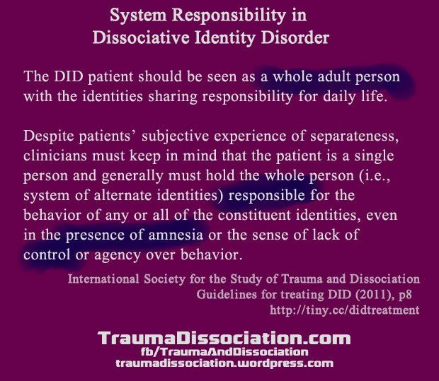 The description of the multiple personality disorder or dissociative identity disorder