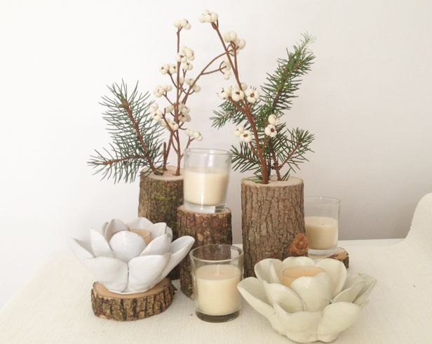 Make log vases for rustic style wedding centerpieces