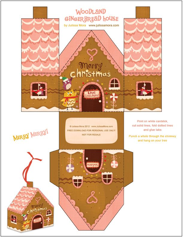 Free printable gingerbread house.