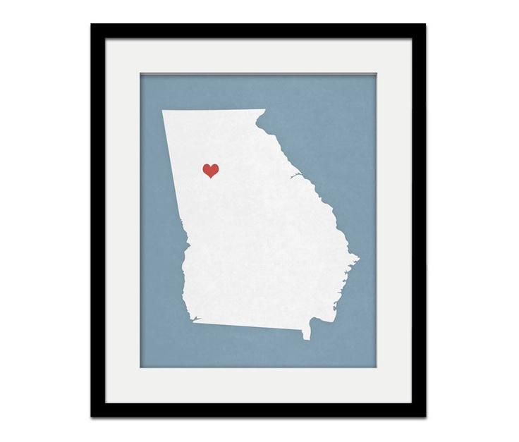 Georgia State Custom Personalized Heart Print I Love the South USA Hometown Wall Art Listing Stats