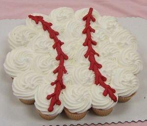 Baseball cupcake cake ( since he already had a glove )