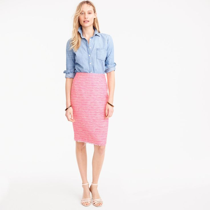 Pencil skirt in neon fuchsia tweed + chambray button down