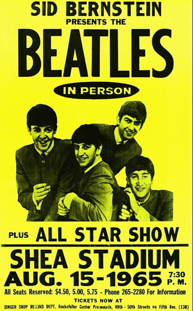 The Beatles At Shea Stadium 14 X 22 Vintage Style Concert Poster I Have This One White Signed By Sis