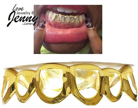 Real Yellow Gold Teeth Grillz Custom fit by LoveJewelryByJenny