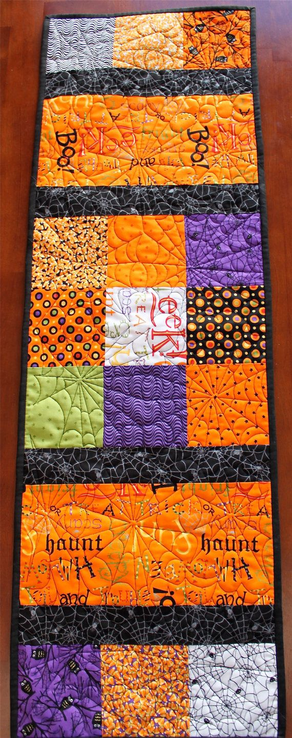 large quilted halloween table runner by on etsy