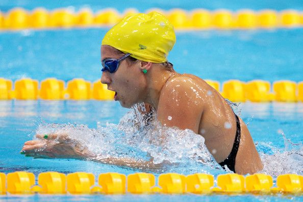Stephanie Rice of Australia swims breaststroke as she competes in heat four of the Women's 400m Individual Medley on Day One of the London 2012 Olympic Games at the Aquatics Centre on July 28, 2012 in London, England.