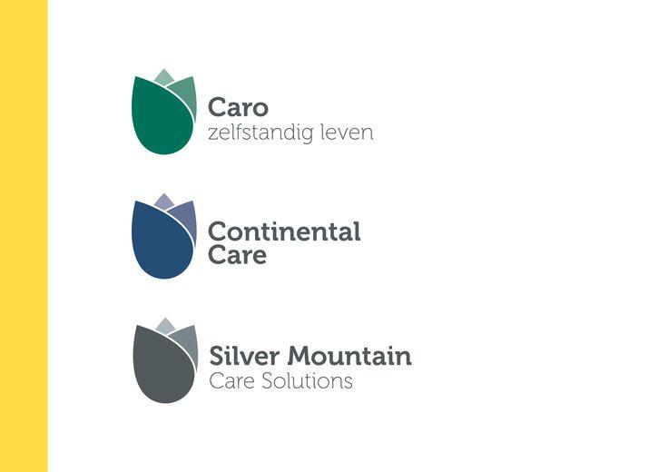 Logo-lijn voor Caro, Continental Care en Silver Mountain Care Solutions.