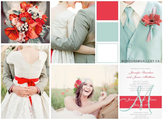 Poppy Red and Mint Green. Two scrumptious Pantone colors for the upcoming wedding season. Monogram Gallery http://monogramgallery.ca/?p=488