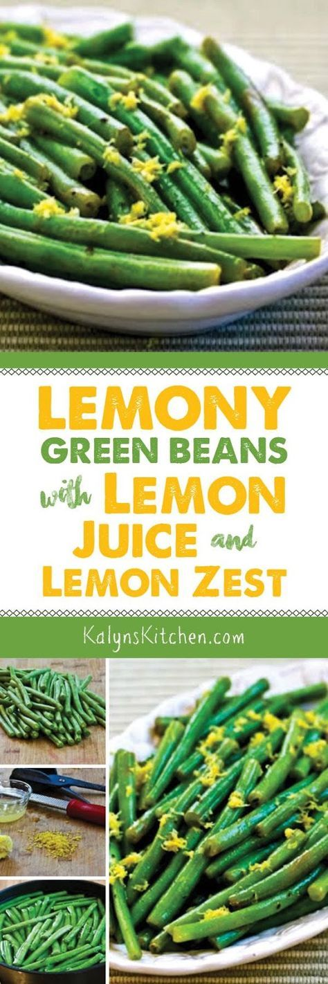 Whether you have fresh garden green beans or have to buy them at the store, this recipe for Lemony Green Beans with Lemon Juice and Lemon Zest might become your favorite way to cook them! I've made this over and over for guests, and these Lemony Green Beans are low-carb, gluten-free, South Beach Diet friendly, vegan, Whole 30, and Paleo, so they can be enjoyed by everyone! [from http://KalynsKitchen.com]
