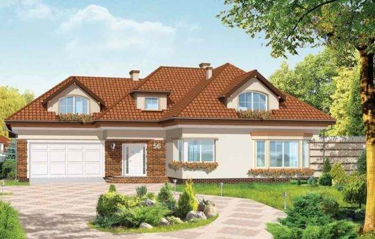 Projekt Siedziba, to komfortowy dom dla 4-5 cioosobowej rodziny. Łączy w sobie elementy tradycyjnej architektury z nowoczesnością. Atrakcyjna, rozbudowana bryła domu z lukarnami, z wykuszowym oknem jadalni, tarasem z pergolą, czy podcieniem wejściowym połączone są w harmonijną całość. Daje ona wrażenie stabilizacji i spokoju.