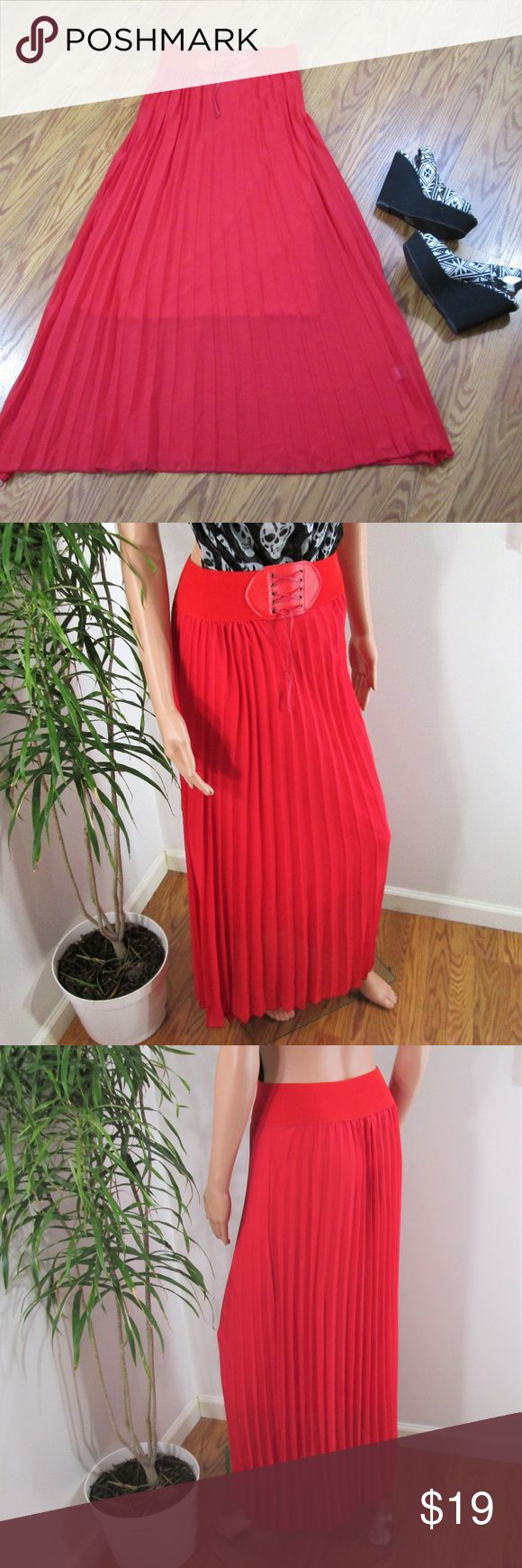 """New! Knife Pleat Chiffon Maxi Skirt Red floaty skirt is lined to knee. Wide elastic waistband with faux lace up buckle detail.  Measured flat. 13"""" ~ 18"""" across waist. 43"""" long. on 5' 9'' model. Mia Mia Skirts Maxi"""