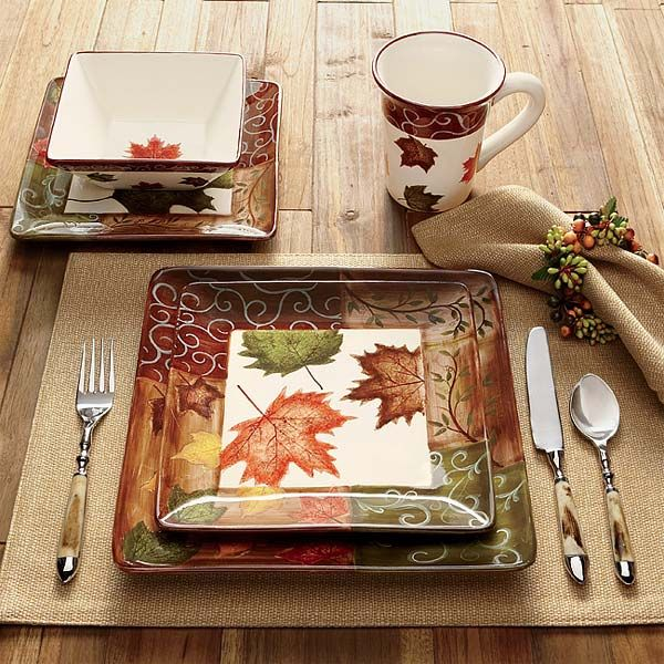 Just found this Square Dinner Plates Set - Fall Foliage China --