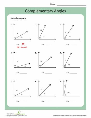 Worksheets: Complementary Angles
