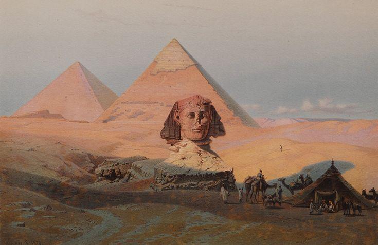 """Carl Friedrich Heinrich Werner (Weimar 1808 - Leipzig 1894) Paar Nilansichten 1881, Chromolithographien,""""Pyramiden von Gizeh bei Sonnenaufgang"""""""