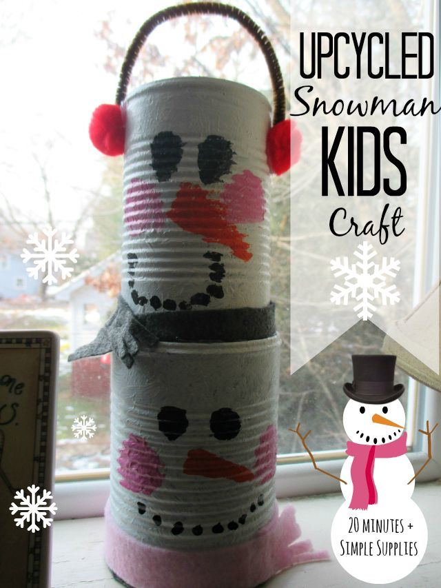 Upcycled Tin Can Stacking Snowman Kids Craft - cute winter kids crafts