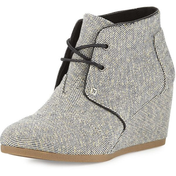 TOMS Metallic Linen Desert Wedge Boot ($89) ❤ liked on Polyvore featuring shoes, boots, black gold metall, wedge boots, wedges shoes, metallic boots, toms boots and black laced boots