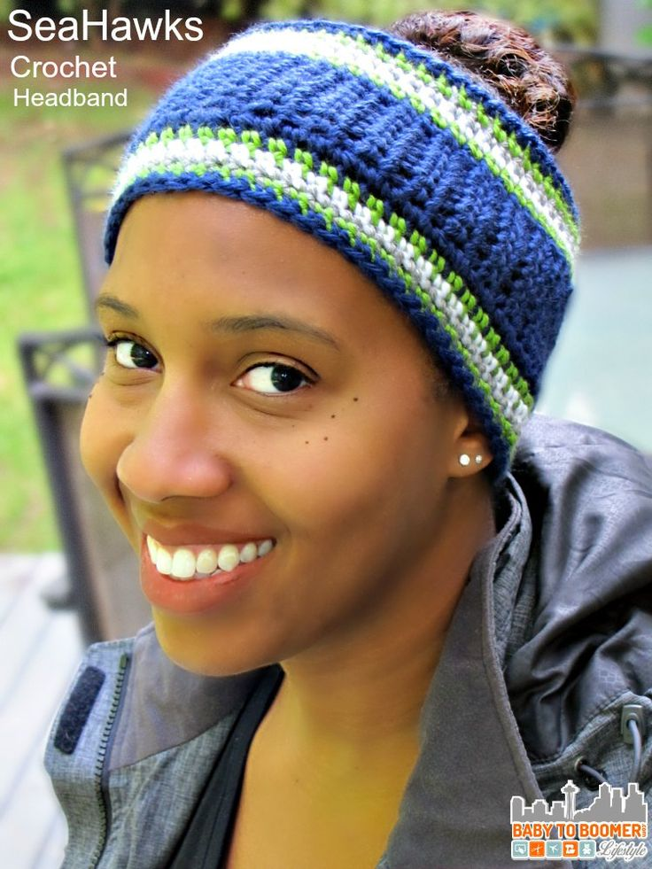 Free Crochet Headband Pattern: Seattle Seahawks or your NFL team! Try Verizon's NFL Mobile - watch games on your smartphone free with More Everything Plan