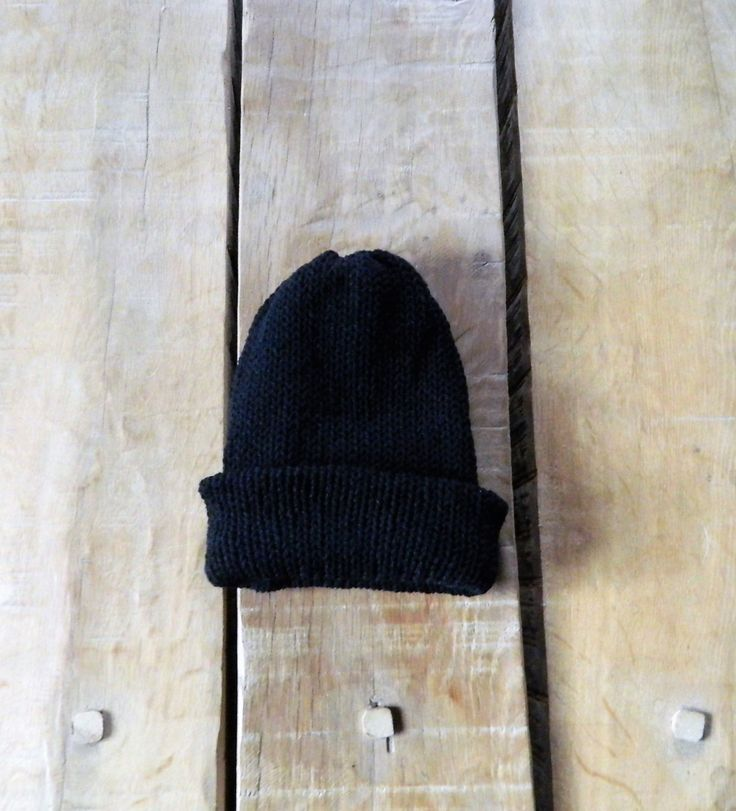 Men's knit hat in black, Man's head wear Reversible hats, Hand made Knitted hat, Black Thick Wool hat, Winter warmers for presents, by AlsCraftyCorner on Etsy
