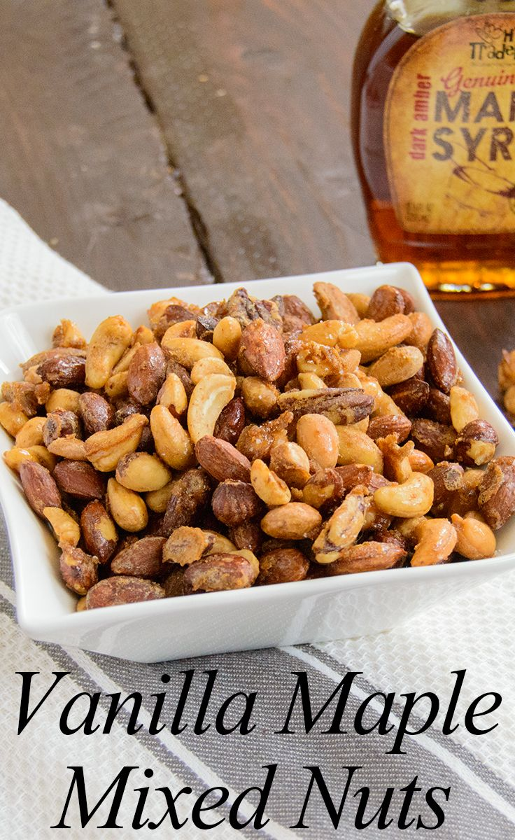 Vanilla Maple Mixed Nuts - I just love this combo of sweet, salty and crunchy! Perfect for snacking!